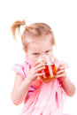Sick little girl with chickenpox drinking tea with lemon isolated on white Royalty Free Stock Image
