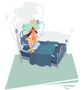 A sick man with high temperature leaning on a bed Royalty Free Stock Images