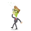 Sick nauseous cartoon businessman puking vector illustration of a and green faced trying not to puke Stock Photos