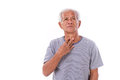 Sick old man sore throat white isolated background Stock Photos