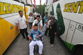 Sick pilgrims officer pushing a wheelchair when arriving at embarkation boyolali indonesia before boarding a plane to leave for Stock Photos
