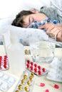 Sick Teenager Sleeps Royalty Free Stock Photo