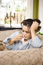 Sick Woman in Bathrobe Stock Photo