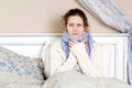 Sick woman in bed. Royalty Free Stock Photo
