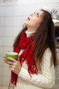 Sick woman gargling throat Stock Photos