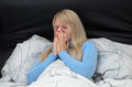 Sick woman suffering from hayfever or flu Royalty Free Stock Photo