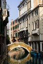 Side canal with bridge, Venice Royalty Free Stock Image
