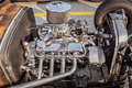 side closeup view of retro classic vintage hot rod car engine Royalty Free Stock Photo