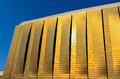 Side curtain of footbal stadium detail picture the a football in the sunset light Royalty Free Stock Images