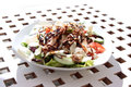 Side dish on white plate grilled chicken and salad grid table Stock Photos