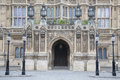Side entrance door of houses of parliament westminster london england uk Royalty Free Stock Image
