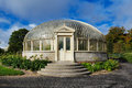 Side entrance to a glasshouse the the long of the national botanic gardens in dublin ireland Stock Image