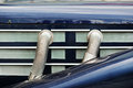 Side exhaust pipes on old classic car Royalty Free Stock Photo
