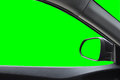 Side mirror and rear view ,View inside the car with green scree Isolated on background with clipping path. Royalty Free Stock Photo