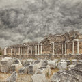 Side nymphaeum fountain ruins the ancient roman situated in the turkish town of Stock Image