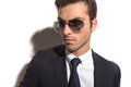 Side picture of a young business man's face Royalty Free Stock Photo