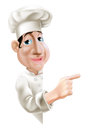 Side pointing chef a fun cartoon sideways at a sign or banner Stock Images