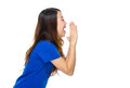 Side profile of woman shouting Royalty Free Stock Photo