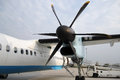 Side propeller of the plane with airplane at the airport Royalty Free Stock Photography