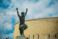 Side statue of the liberty statue freedom statue of budapest hungary september at citadel on gellert hill in it Stock Image
