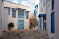 Side street at Sidi Bou Said, Tunis, Tunisia Royalty Free Stock Images