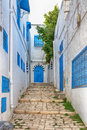 Side street at sidi bou said tunis tunisia typical building with white walls blue doors and windows Royalty Free Stock Photos