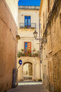 Side street in syracuse at the famous city of sicily Royalty Free Stock Photo