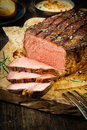 Side of succulent rare roast beef Royalty Free Stock Photo