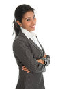 Side view african american businesswoman portrait of pretty in business suit isolated over white background mixed race asian Stock Image