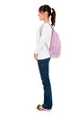 Side view of asian female student full body young adult standing on white background Stock Photos