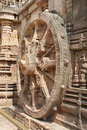 A side view of beautiful chariot Wheel, Sun temple Stock Image