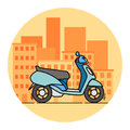 Side view blue scooter illustration. Linear art. Royalty Free Stock Photo