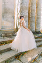 The side view of the bride in the long pompous dress standing on the stairs of the ancient building. Royalty Free Stock Photo