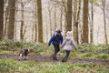 Side view of brother and sister walking pet dog in a wood Royalty Free Stock Photo