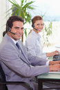 Side view of call center agents Royalty Free Stock Images