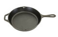 Side view of cast iron pan isolated on white background Royalty Free Stock Photography