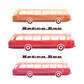 Side view of colorful silhouettes of retro bus