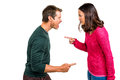Side view of couple arguing against white background Stock Photography