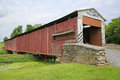 Side view of covered Herrs Mill bridge Royalty Free Stock Photo