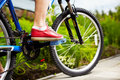 Side view of a cycle with front wheel Royalty Free Stock Images