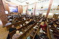 Side view of the first federal congress on e democracy moscow may in russian state library may in moscow russia Royalty Free Stock Photography