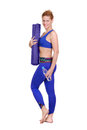 Side view full length portrait of a yoga girl Royalty Free Stock Photo