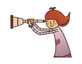 Side view of girl is holding telescope Royalty Free Stock Photo