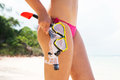 Side view of gorgeous woman with hot legs going diving with goggles Royalty Free Stock Photo