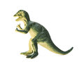 Side view green Dilophosaurus toy on white background Royalty Free Stock Photo