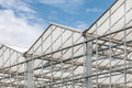 Side view of a greenhouse against a blue sky Royalty Free Stock Photo