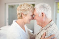 Side view of happy couple touching nose at home Stock Photo