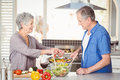 Side view of happy senior couple preparing food while standing at kitchen counter Royalty Free Stock Photography