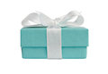 Side view of isolated turquoise gift box on white Royalty Free Stock Photo