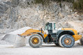Side view of large and heavy wheel mounted front loader at mine Stock Photography